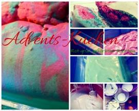 Adventskuchen gefärbter Teig