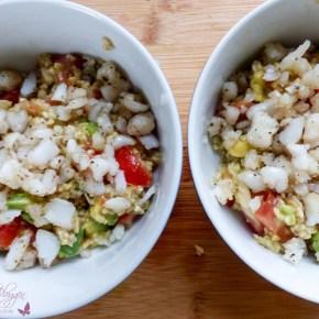 [Rezept] Salat aus Hafergrütze mit Avocado und Fisch ~ DieAlleskörner