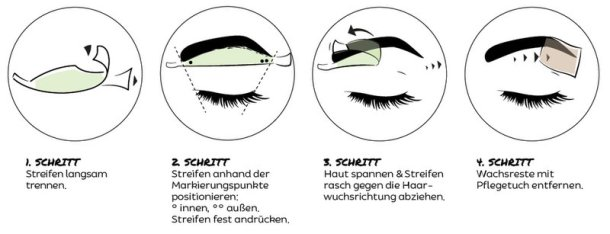 BROW Wax Strips stehen für Schönheit, Einfachheit, Effizienz und Innovation Augenbrauen enthaarungsstreifen anwendung