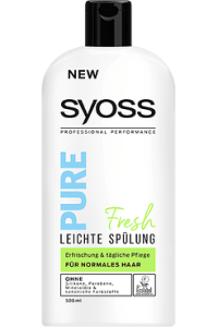 SYOSS PURE: Die neue Haarstyling-Serie und neue Haarpflege-Linie ohne Zusatzstoffe Spülung Pure Fresh